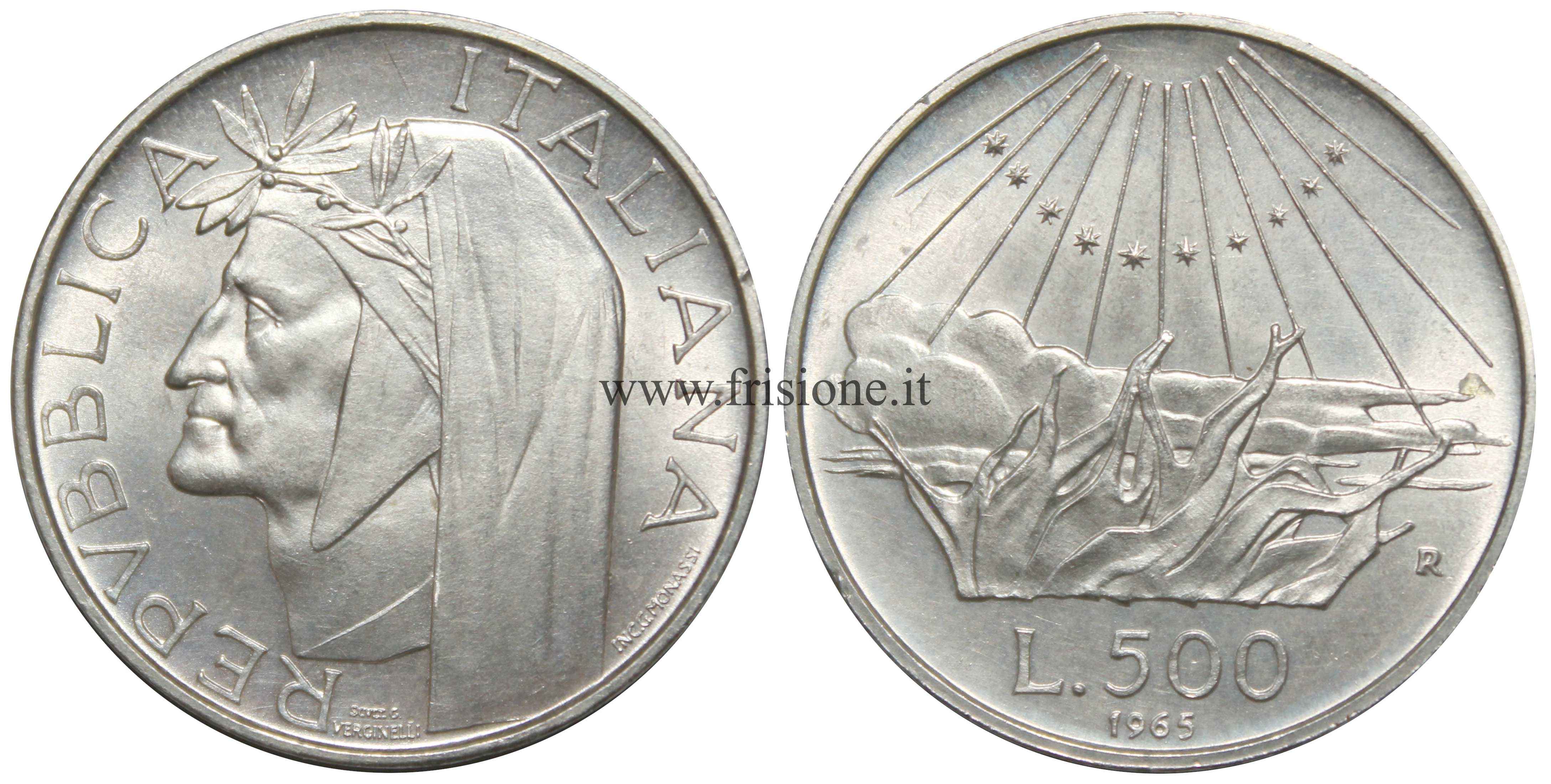 4a2d308f57 Italia 500 Lire Argento caravelle, Dante, Centenario