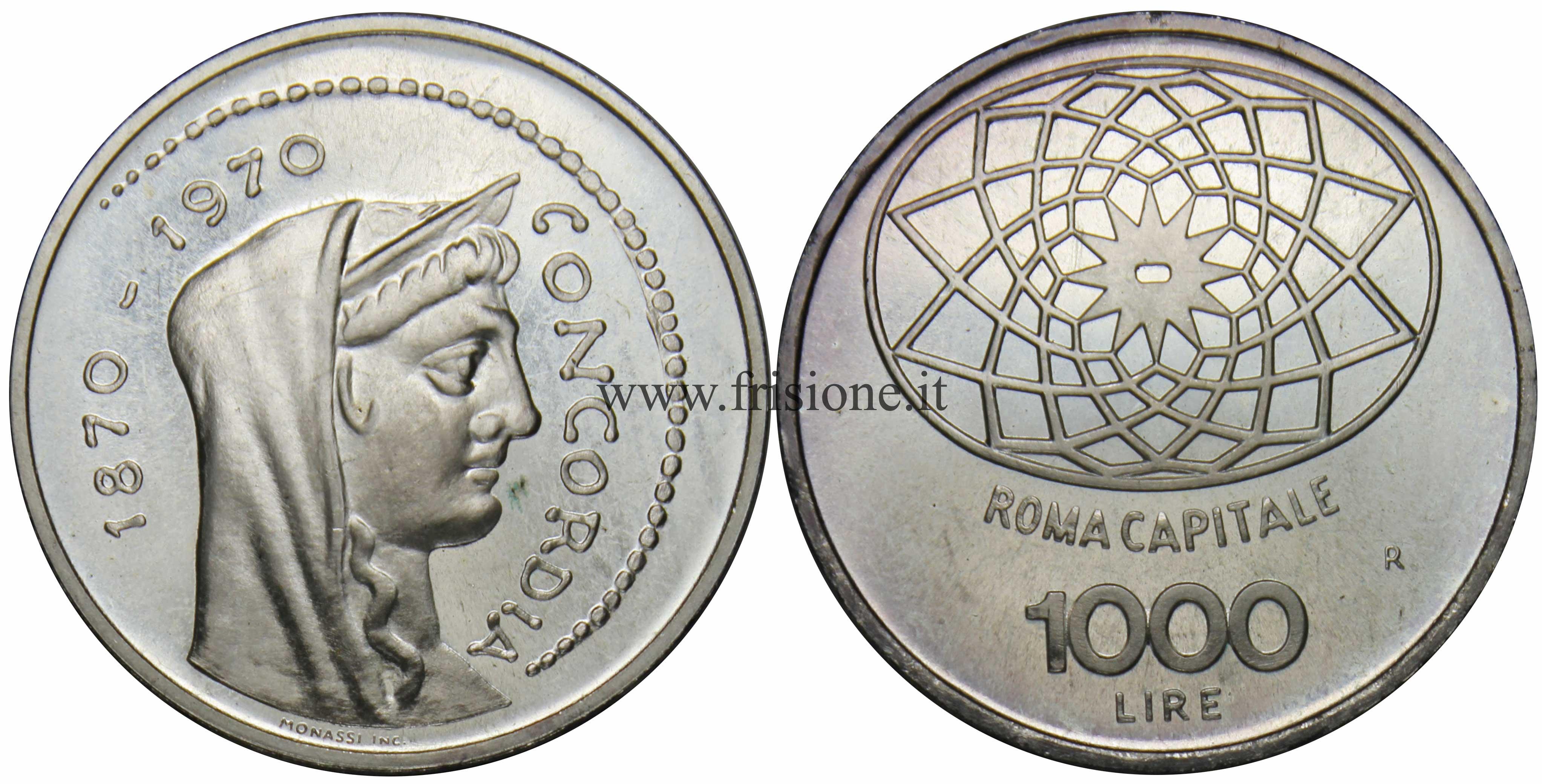 db3efa0d23 Italia - 1000 L. 1970 - Concordia