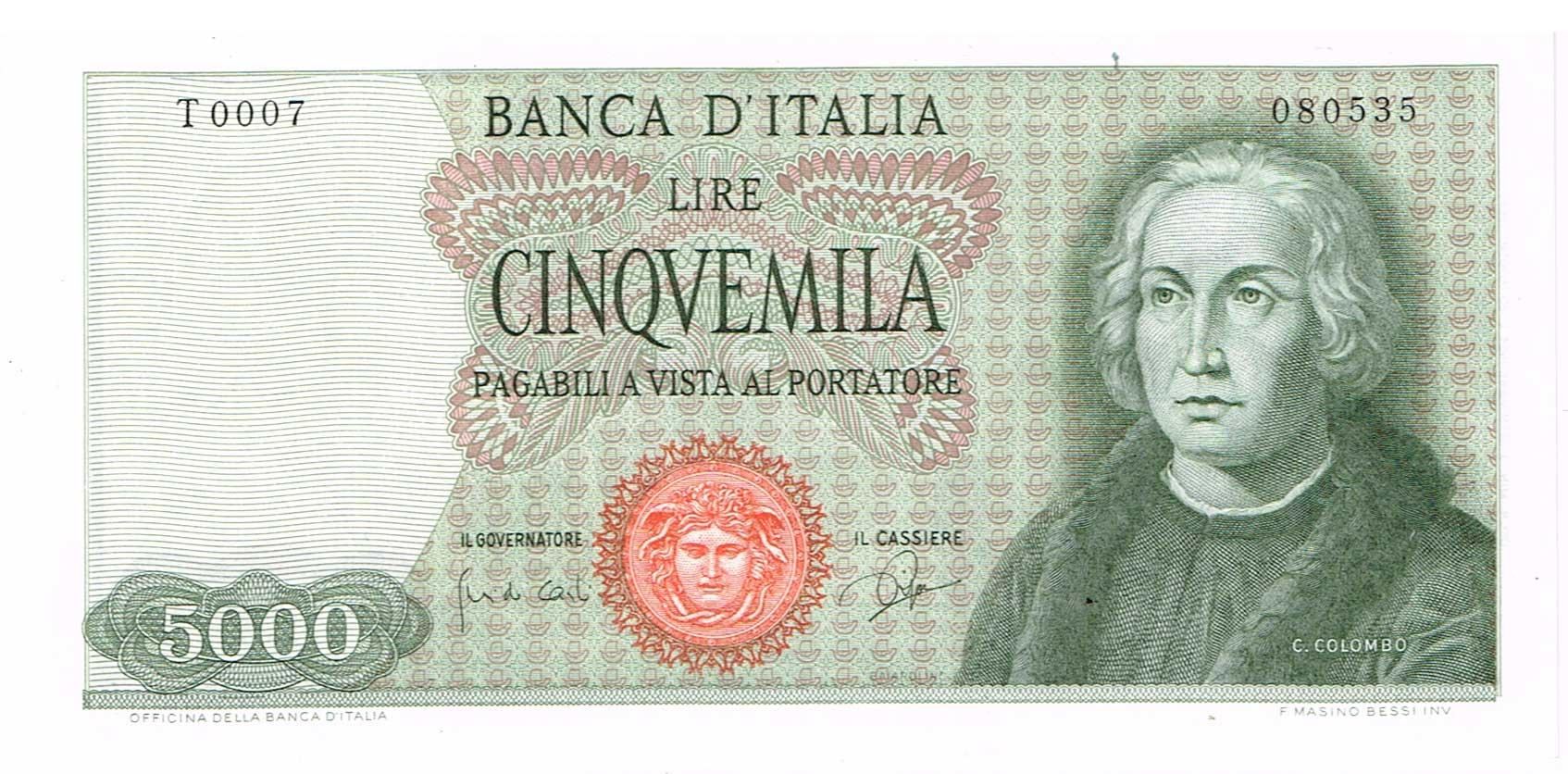 1ef27e2d7a 5000 Lire 3-9-1964 Colombo, 1 caravella